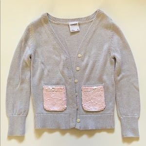 Light Gray Sweater with Pink Sequins Pockets